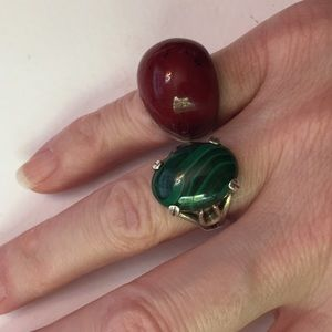 Vintage 925 silver rings, Wood resin& malachite